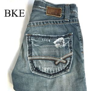 BKE Mens Fulton Distressed Boot Cut Jeans Size 28